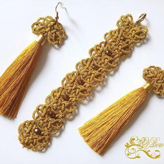 Кружевные серьги кисти и браслет фриволите, анкарс с золотыми бусинами