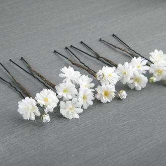Шпильки для волос с маленькими белыми цветами гипсофилы