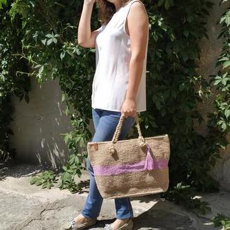 Пляжная сумка из джута с лиловой полосой
