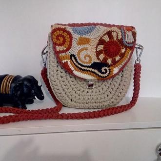 оригинальная  сумка из трикотажной пряжи