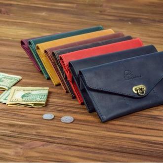 Кожаное женское портмоне, кошелек из натуральной кожи, именной подарок