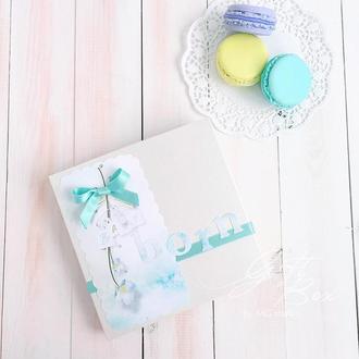 """Gift Box """"Baby born/ Boy"""" цвет 2 - коробочка с открыткой и конвертом внутри."""