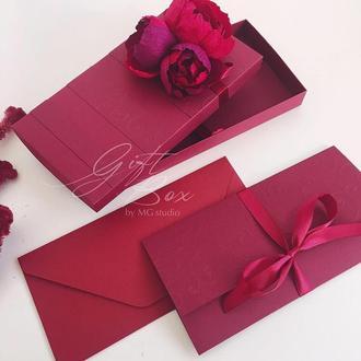 "Gift Box ""Mona"" ( бордовый ) - открытка в коробочке"