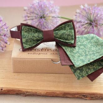 Комплект бабочка и платок-паше коричневый с зеленым