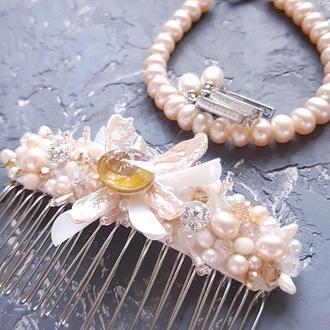 Комплект весільний чи святковий з натуральних перлів та кристалів колье браслет серьги корона жемчуг