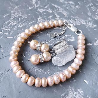 Комплект з натуральних персикових перлів браслет і сережки браслет и серьги из жемчуга