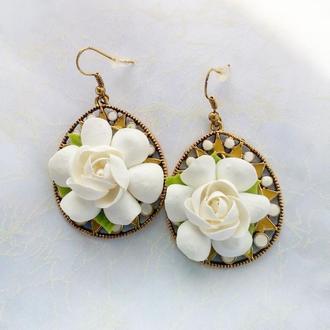 Сережки Гарденії Сережки з квітами