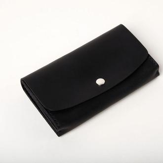 Женский мужской кожаный клатч кошелек (2 card) «Proza Blue» на кнопке с отделом для монет