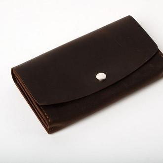 Женский мужской кожаный клатч кошелек (2 card) «Proza Brown» на кнопке с отделом для монет