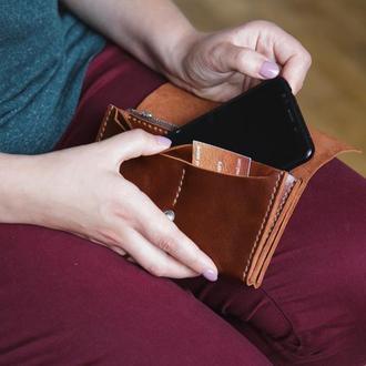 Женский мужской кожаный клатч кошелек (2 card) «Proza Cognac» на кнопке с отделом для монет