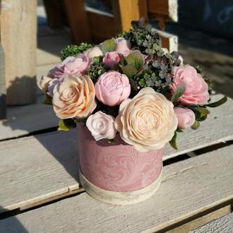 Мыльный букет из роз и пионов
