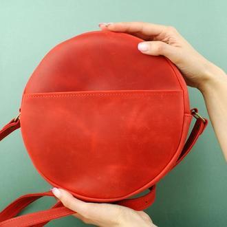 Женская круглая кожаная сумка -  сумка через плечо