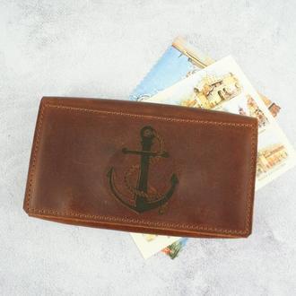 Шкіряний гаманець кольору коньяк - чоловіче портмоне