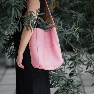 Стильный розовый кожаный Шоппер