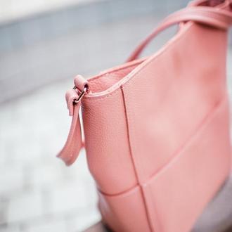 Кожаная сумка-шоппер  (розовая, пудра)