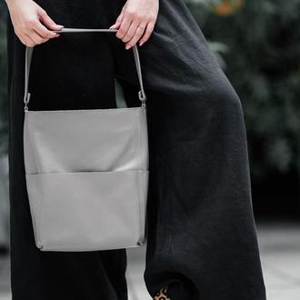 Стильный серый Шоппер-сумка из кожи