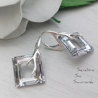 Серебряные серьги Квадраты  1