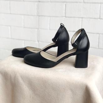 Туфли лодочки деленки из натуральной черной кожи, средний каблук, 36-40
