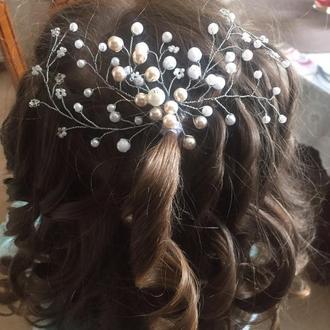 Свадебное украшение для волос, гребень в прическу, украшение в прическу на выпусной