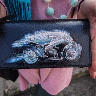 Кожаный кошелек на змейке, кошелек для мотоциклиста