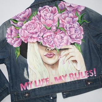 джинсовка с росписью джинсовая куртка ручная роспись роспись цветы цвети девушка
