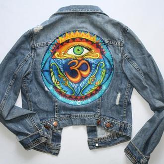 джинсовка с росписью джинсова куртка ручний розпис роспись акрил ом