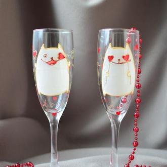 Бокалы для шампанского Влюбленные коты