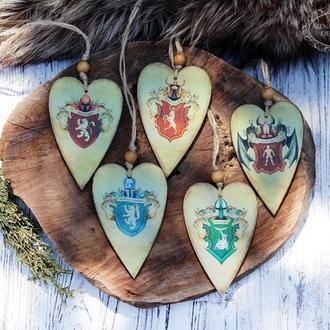 Сердечки из дерева Игра престолов , Гербы великих домов Вестероса