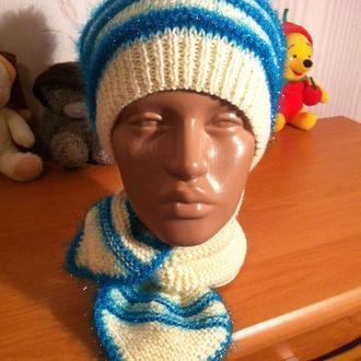 Берет и шарфик комплект ручной работы зимний шерстяной