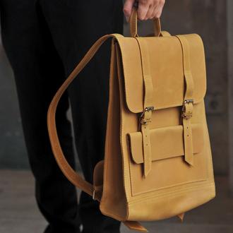 Большой бежевый кожаный рюкзак