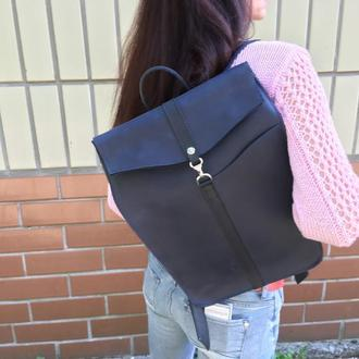 Стильный синий кожаный рюкзак