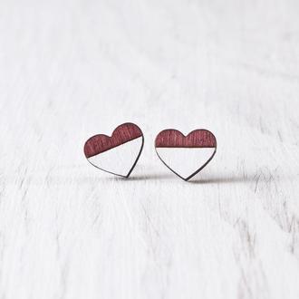 Сережки сердечки купить Киев, Серьги гвоздики деревянные