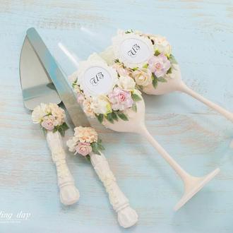 Свадебные бокалы нежно-розовые / Бокали рожеві / Бокали для весілля