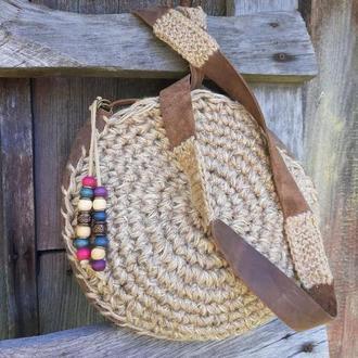 Вязанная сумка. Вязанная сумка с кожаными ручками. Сумка в бохо-стиле