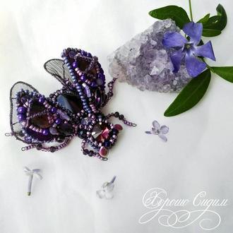 Брошь Фиолетовый жук