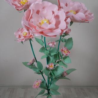 Дикая роза с изолона для украшения свадебного зала (ростовые цветы)