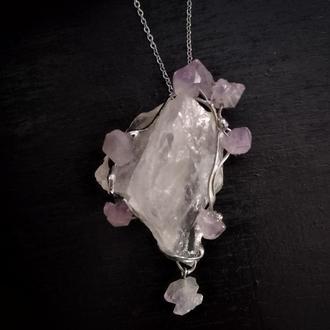 кулон, розовый кварц, самородок, аметист, кристаллы