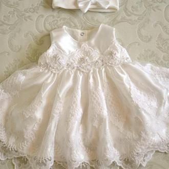 Комплект на выписку для принцессы Эстель: платье с повязкой