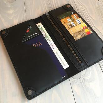Кожаное портмоне  Goose™ Classic Zipper черный (тревел-кейс)