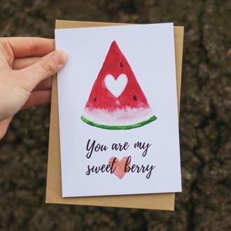"""Открытка акварельная арбуз  """"You are my sweet berry"""". Подарок девушке. Открытки для девушки."""
