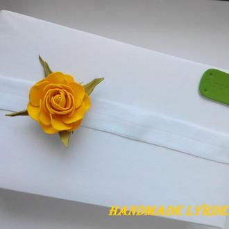 "Повязка для малышки ""Жёлтая роза"""