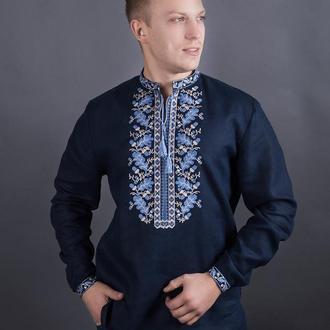 Вышиванка мужская из синего льна
