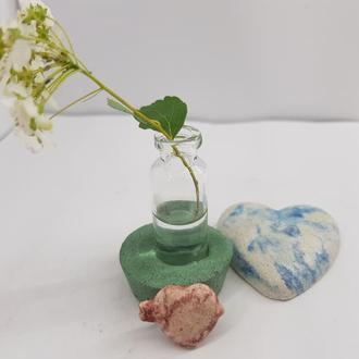 Мини ваза для полевых цветов из бетона и стекла, сделанная вручную, стиль Loft