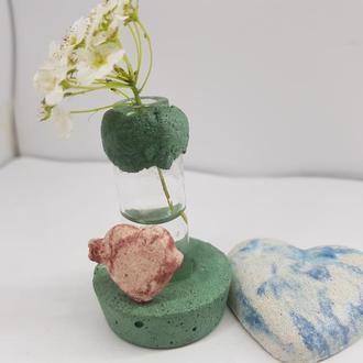 Мини ваза для полевых цветов из бетона и стекла, сделанная вручную, стиль Loft - с каемкой