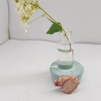 Мини ваза для полевых цветов из бетона и стекла, сделанная вручную, стиль Loft - голубая