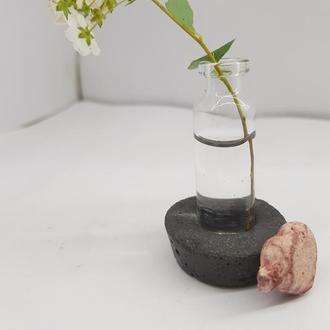Мини ваза для полевых цветов из бетона и стекла, сделанная вручную, стиль Loft - черная