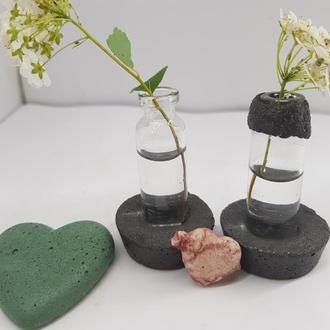 Набор мини ваз для полевых цветов из бетона и стекла, сделанная вручную, стиль Loft - черные
