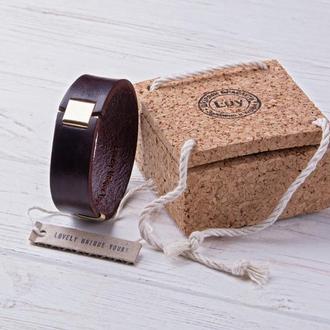 Мужской кожаный браслет LUY N8 цвет махагон