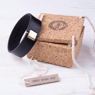 Мужской кожаный браслет LUY N8 черный