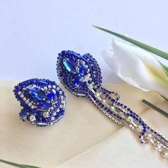 Серьги ассиметричные синие